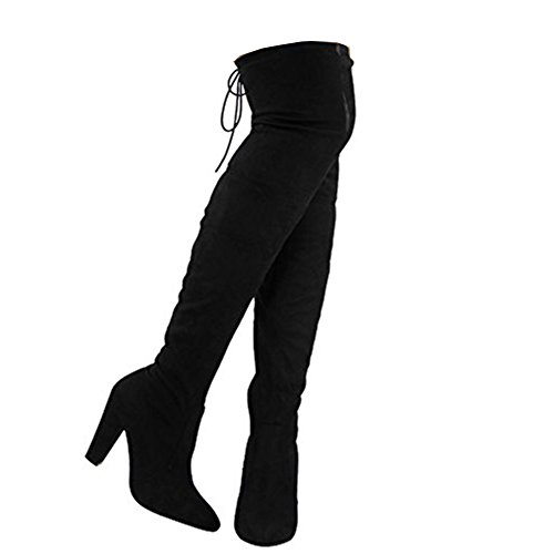Black Size 7 - Ladies Womens Block High Heel Thigh Over The Knee Stretch Suede Sexy Boots