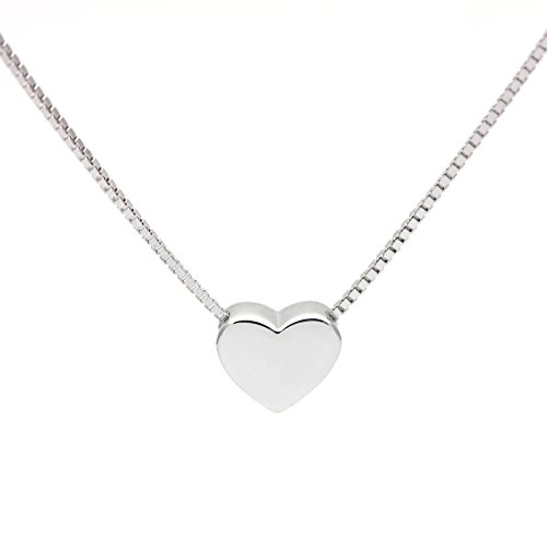 Jenny-BaBy Tiny Heart Necklace Sterling Silver Delicate Love Heart Collar Necklace Dainty Necklace (Silver)