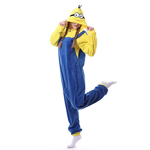 Adults Unisex Onesie Halloween Costumes Animals Sleeping Pajamas (M, Minions)]()