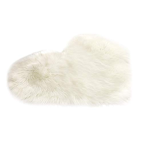 Lljin Wool Imitation Sheepskin Rugs Faux Fur Non Slip Bedroom Shaggy Carpet Mats (E)
