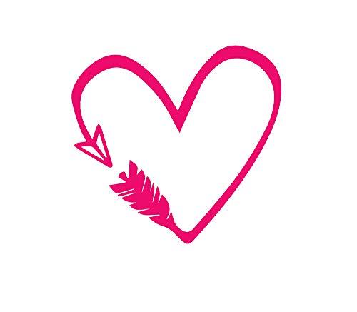ANGDEST Heart Arrow (Pink) (Set of 2) Premium Waterproof Vinyl Decal Stickers for Laptop Phone Accessory Helmet Car Window Bumper Mug Tuber Cup Door Wall -