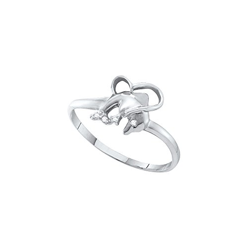 Dolphins Round Ring (10kt White Gold Womens Round Diamond-accent Dolphin Heart Ring .02 Cttw (I2-I3 clarity; J-K color))