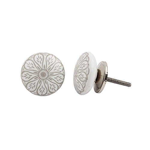 Indianshelf Handmade 10 Piece Rust Free Artistic Furniture Pulls Flat Designer Door Knobs Daisy Flower Ceramic Grey (Daisy Flower Knob)