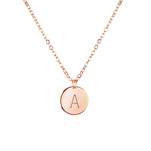 Rose Gold Initial Necklace Initial Disc Necklace Mothers Day Gift Bridesmaid Jewelry Gift for Her (A) (Jewelry Initial Necklace)
