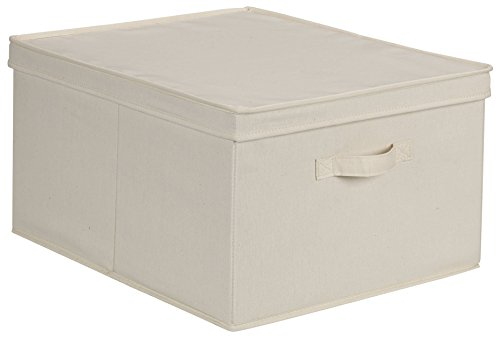 Household Essentials 115 Storage Box with Lid and Handle | Natural Beige Canvas | Jumbo