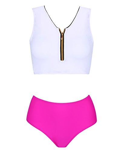 High Zipper (SEARTIST High Neck Zipper Bikini, High Waisted Swimsuit For Women,White+red,M (US 8-10))