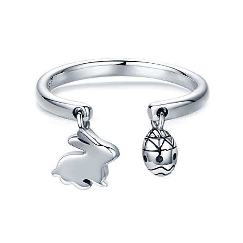 (The Kiss Easter Bunny & Eggs 925 Sterling Silver Adjustable)