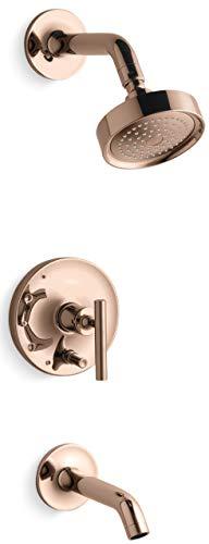 (Kohler K-T14420-4 Purist Tub and Shower Trim Package with Single Function Shower, Vibrant Rose)