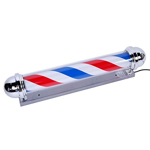 """AIPOLE 39"""" Round Top LED Barber Pole Lamp Rotating & Illuminated Red Blue White Stripes Light Attractive Salon Hair Barber Shop Sign by AIPOLE (Image #2)"""