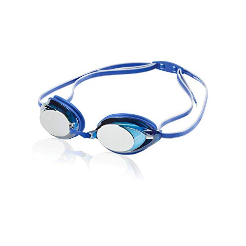 Speedo Vanquisher 2.0 Mirrored Swim Goggle, Blue, One Size (Speedo Goggle Nose Piece)
