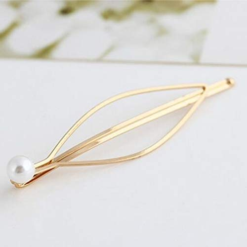 Jeweled Oval Hoop - Artificial Simulated Pearl Hair Clips Pin Geometric Barrette Drop Hairpins for Minimalist Womens Lady Wedding Hair Accessories (Pearl Oval)