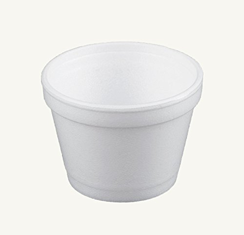 Dart 4J6, 4-Ounce Customizable White Foam Cold And Hot Food Container with White Plastic Flat Vented Lid, Dessert Ice-Cream Yogurt Cups, Sauce Dressing Containers with Matching Covers (50)