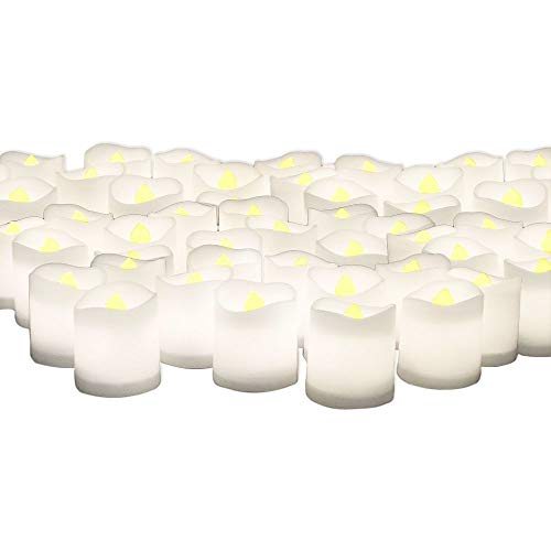 LED Lighted Flickering Votive Style Flameless Candles - Banberry Designs - Box of 96 - Wedding Decorations - Faux Candles - Flameless Candle Set - Centerpieces