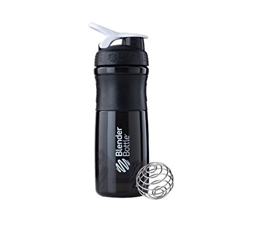 BlenderBottle SportMixer Protein Shaker Cup 28 oz Blender Bottle Sport Mixer Health & Fitness (Black/White)