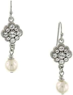 1928 Jewelry Zarina Crystal Flower Faux Pearl Drop Earrings
