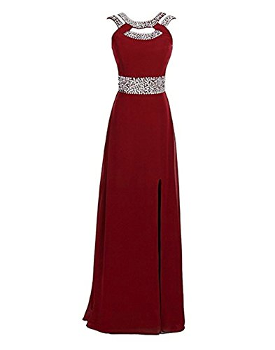 Ruiyuhong Chiffon Sequin Burgundy Evening Dresses Long Maxi Backless Formal -