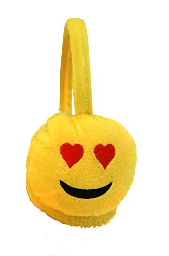 VALENTINE'S DAY Emoji Fashion Unisex Emoticon Ear Warmers Plush Earmuff and Knit Gloves Sold in Sets or Separately, USA COMPANY (Earmuff & Glove Set, COOL Smile-Sunglasses) (LOVE Heart Eyes - Juniors Cute For Sunglasses
