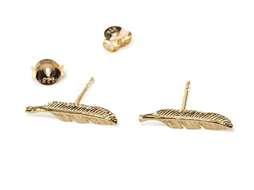 18k Gold Plated Sterling Silver Earring Cartilage Women Teen Girl Ear Stud Helix Tragus Feather 3/5