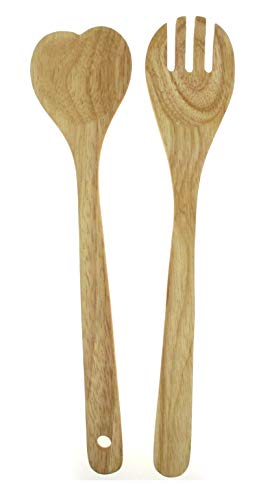 Heart Shaped Wooden Spoon and Fork Salad Servers, 12