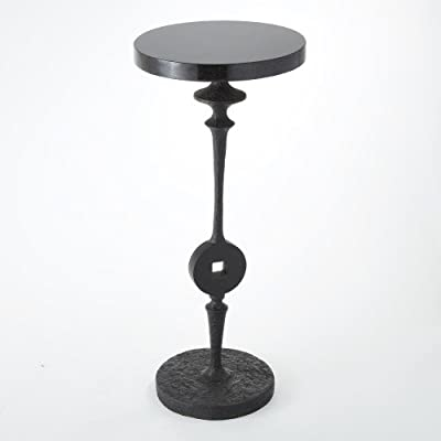 African Tribal Iron Tool Accent Table | Black Granite Top Sculpture Pedestal