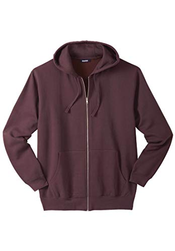 Big And Tall Drawstring Sweatshirt - KingSize Men's Big & Tall Fleece Zip-Front Hoodie, Raisin Tall-3Xl