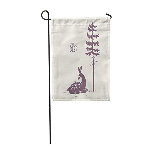 Semtomn Garden Flag 28x40 Inches Print On Two Side Polyester Baby Silhouette of Beautiful and Cute Cartoon Deers New Born Fawn with Mom Bambi Home Yard Farm Fade Resistant Outdoor House Decor Flag ()