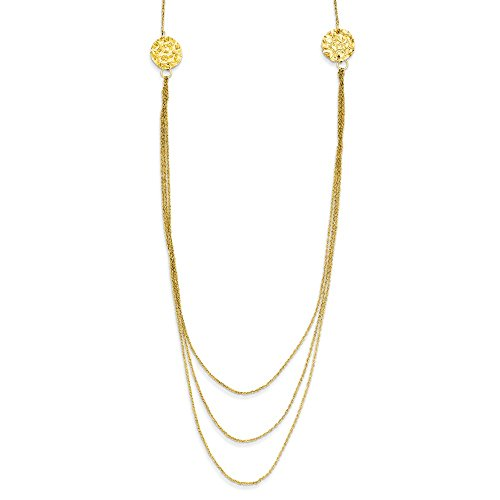 14k Yellow Gold 3 Layer Ropa Chain Texture Side Circles 2 Inch Extension Necklace Pendant Charm Fancy Multi Fine Jewelry Gifts For Women For Her