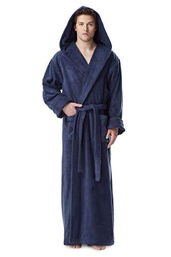Arus Men's Hood'n Full Ankle Length Hooded Turkish Cotton Bathrobe Navy Blue Large