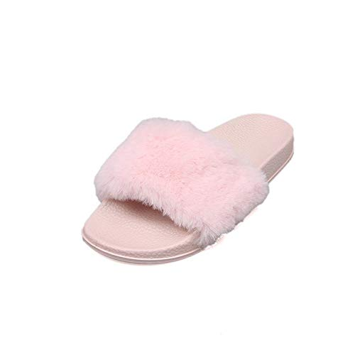 75680307869 T-JULY Ladies House Slippers for Women Fur Beach Sandals Soft Flat for  Indoor Outdoor