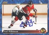 - Neil Wilkinson Chicago Blackhawks 1994 Score Autographed Card. This item comes with a certificate of authenticity from Autograph-Sports. Autographed