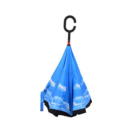Lzndeal Windproof Reverse Folding Umbrella Double Layers Inverted Self Stand Inside Out Rain Protection C-Hook Hands