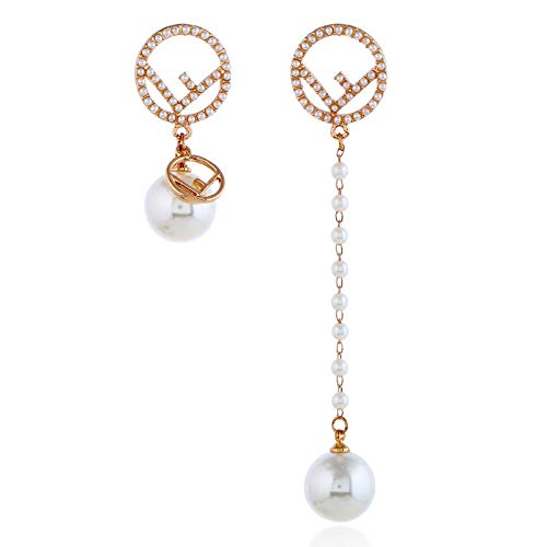 YIAI Crystal Bee Earrings for Women, Rhinestone Alloy Vintage Pearl Dangle Drop Earrings for Brides or Weddings Gifts (F2)