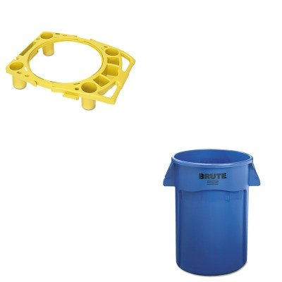 KITRCP264360BERCP9W87YEL - Value Kit - Rubbermaid Brute Vented Trash Receptacle (RCP264360BE) and Rubbermaid Standard Rim Caddy (RCP9W87YEL) by Rubbermaid