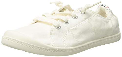 Madden Girl Women's Baailey Fashion Sneaker, White Fabric, 6.5 M US