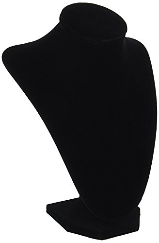 Elegant Black 1999-084 Velvet Jewelry Stand, 9-Inch Mannequin Jewelry Torso 3-Dimensional (1 PIECE)