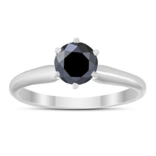 - 1/2 Carat Round Black Diamond Solitaire Ring in 14K White Gold