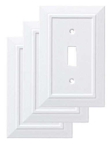 Decorative Cover Plates - Franklin Brass W35241V-PW-C Classic Architecture Single Switch Wall Plate/Switch Plate/Cover, White, 3-Pack
