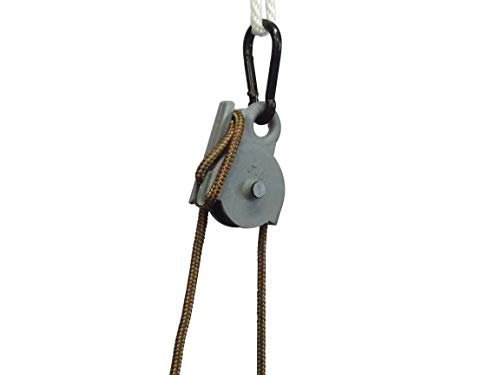 - Locking Pulley ,15 Feet Nylon Rope. Made in U.S.A. 250 Pound Capacity.