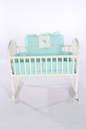 Baby Doll Bedding Gingham with Elephant Applique Cradle Bedding Set, Mint by BabyDoll Bedding