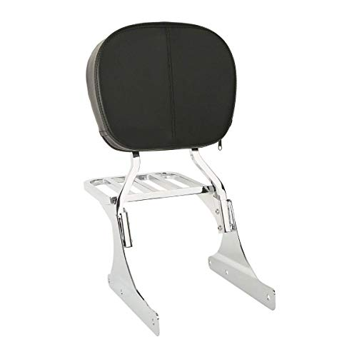 TCMT Low Backrest Sissy Bar w/Luggage Rack For Harley Softail 84-17 FLSTF FLSTC FXSTB ()