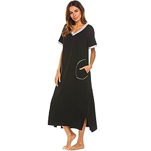 Ekouaer Sleepwear Women's Nightshirt Short Sleeve Nightgown Ultra-Soft Full Length Sleep Dress