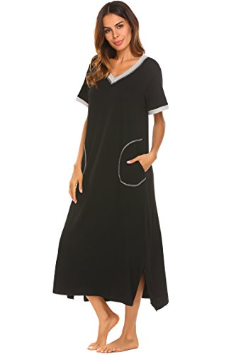 Ekouaer Loungewear Sleepshirts Long Night Gown (Black, XX-Large)