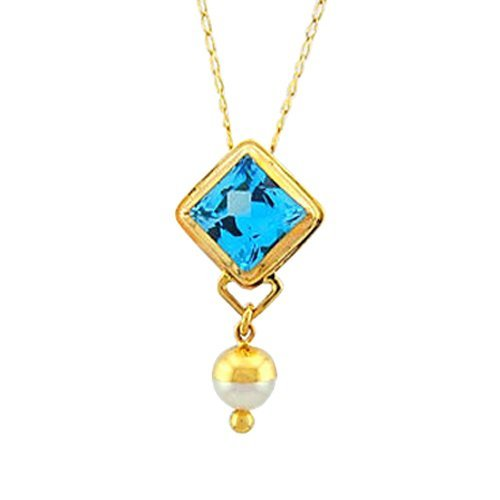 London Blue Topaz with a White Pearl in 14K Yellow Gold Topaz and Pearl Pendant Fine Handmade Jewelry