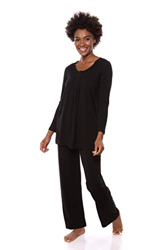 Women's Long Sleeve PJs in Bamboo Viscose (Replenish, Black, Medium) for Her WB0006-BLK-M