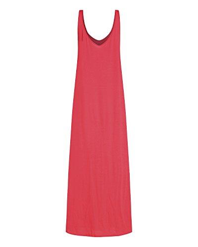 Soire Col Sexy Fluide Cocktail rouge Robe Plage V Longue Kidsform X Uni Bretelle Fine Et Femme de g1pOwqSxR