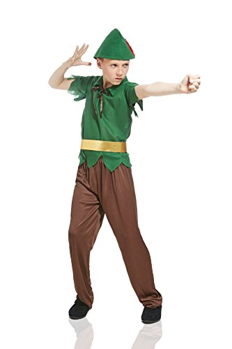 Robin Kids Costumes Kit (Kids Boys Robin Hood Costume Sherwood Forest Hunter Medieval Archer Elf Dress Up (3-6 years, Brown/Green/Gold))