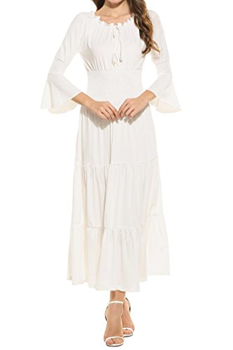 Sleeve Gauze Tunic (ELESOL Women's Bell Sleeve Elastic Waist Tiered Renaissance Pleated Maxi Dress White S)