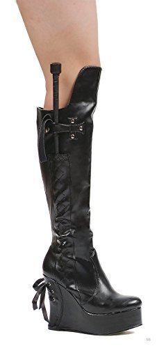- Ellie Shoes E-475-Sadie 4 Heel Knee Boot 12 / Black Shiny