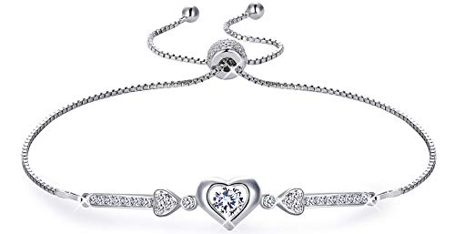 - MUATOGIML 925 Sterling Silver Adjustable Cupid's Arrow of Love Heart Charm Link Bracelet Gifts for Women Girls
