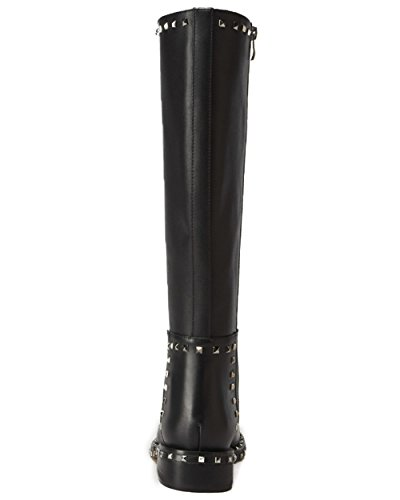 Heel Low Nine Handmade Round Boots Black Studded Toe Seven Chunky Zipper Women's Genuine Leather Knee High Y8rYq